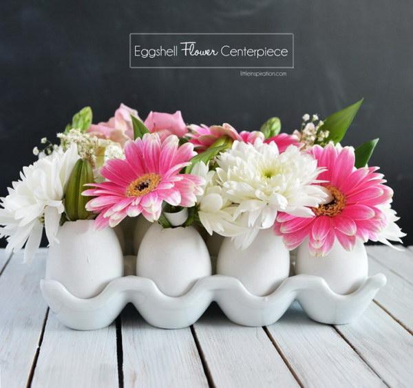 DIY Eggshell Flower Centerpiece.