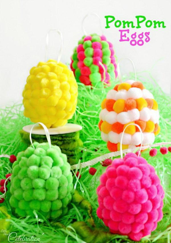 DIY Pompom Easter Eggs.