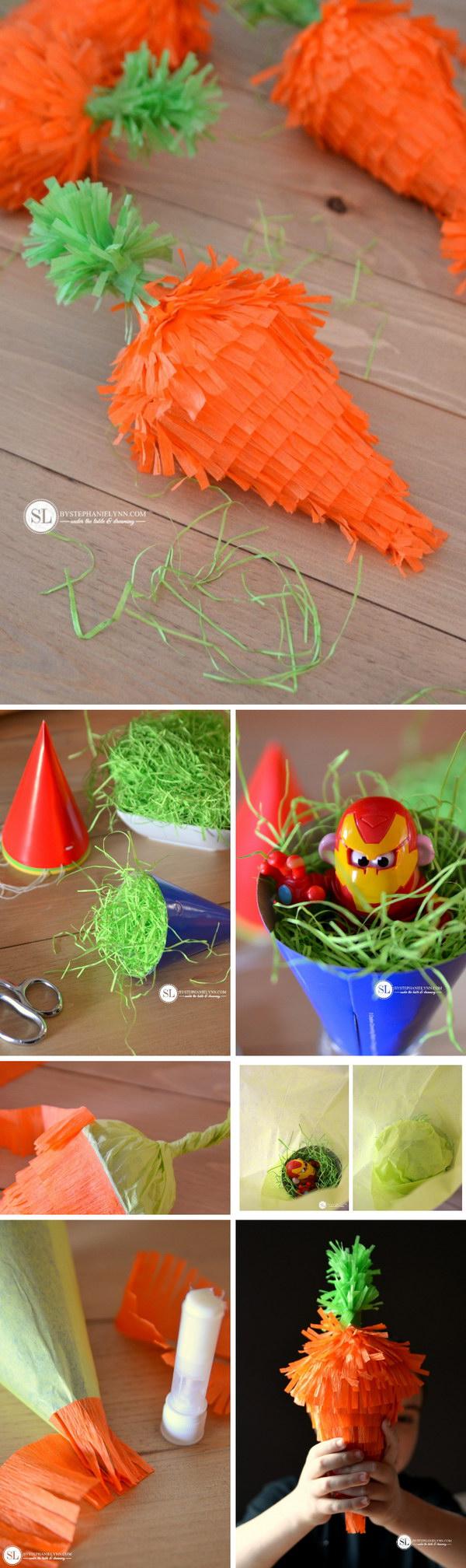 DIY Mini Easter Carrot Pinatas.