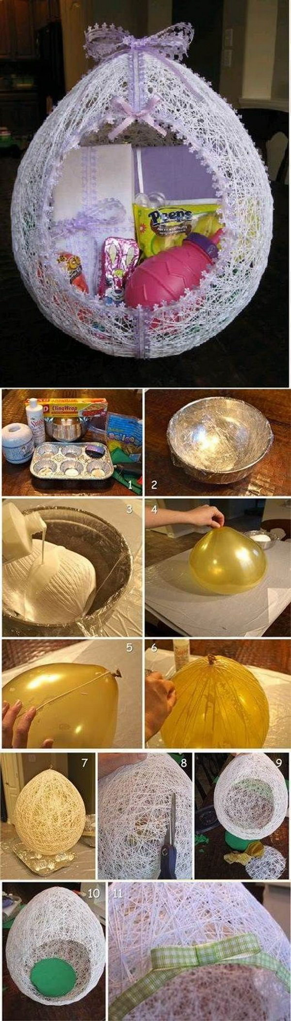 Egg Shaped Easter Basket From String.