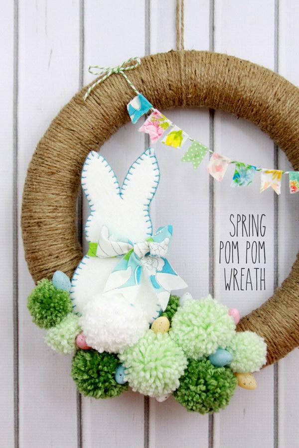 Easter Pom Pom Wreath.