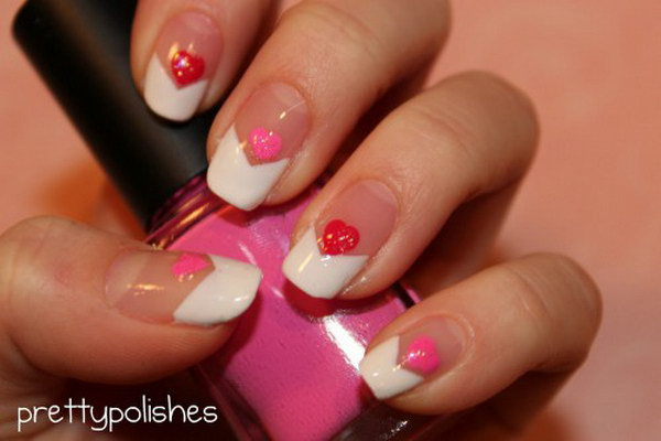 Heart Nail Design with French Tips