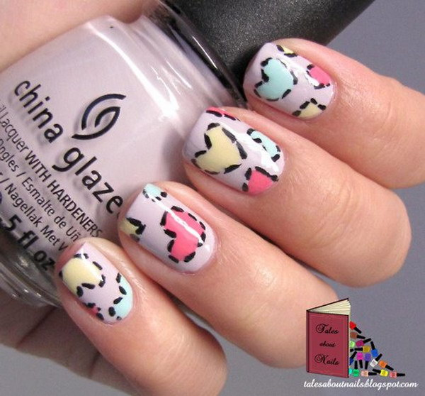 Lovely Patchwork Hearts Nails