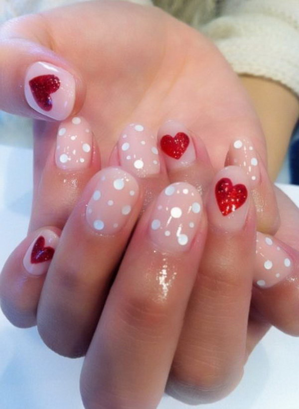 Short Pink and Red Nails with Heart Accent