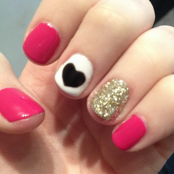 Cute Pink and Glitter Heart Nail Design