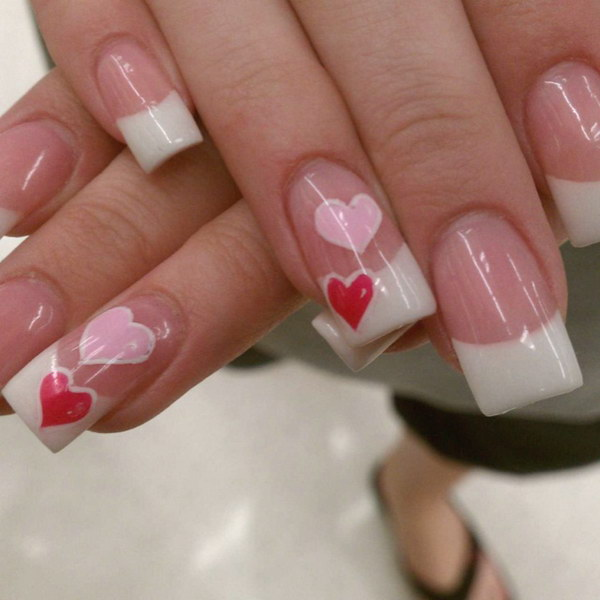 Valentine's Day Simple French Nail Art