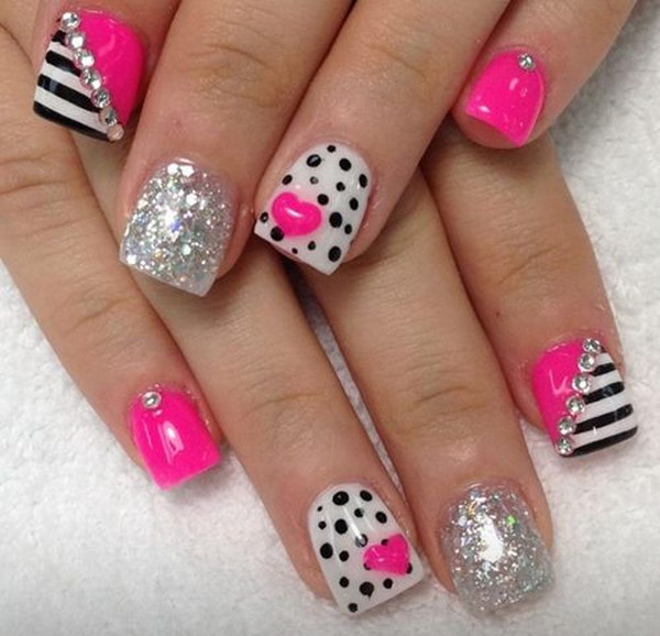 Heart, Polka Dots and Lines Nail Art with Glitter Accent