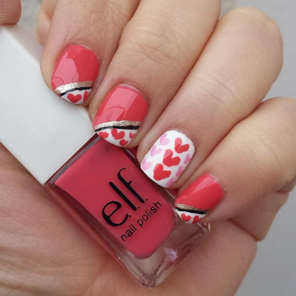 Gold and Black Lines on Pink Heart Nail Design