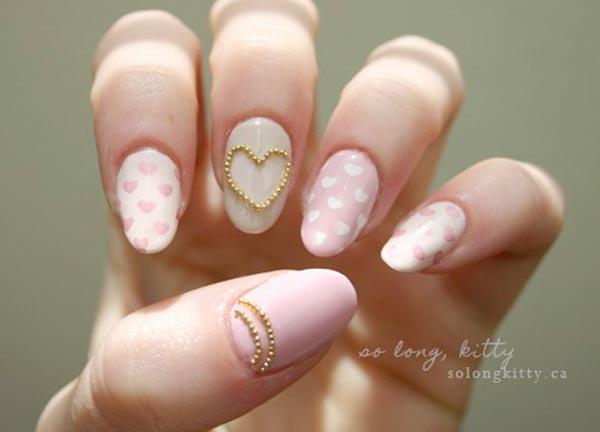 Delicate Valentine's Day Nail Art