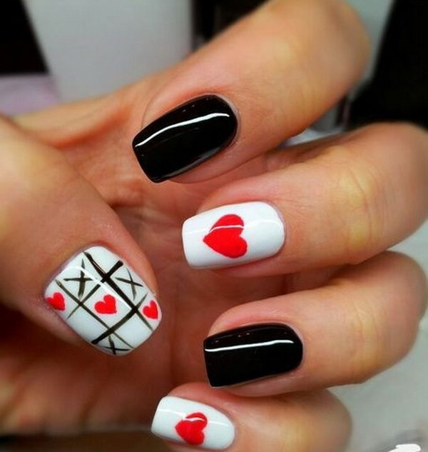 Black and White Valentine's Day Nail Art Design