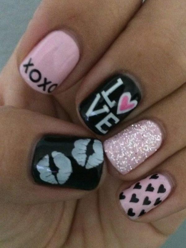 Pink Red Glittery Heart Nail Art Design