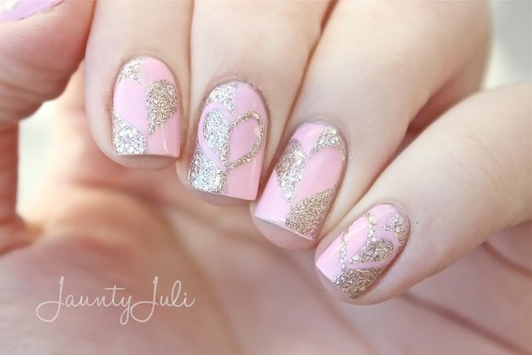 Pink and Glitter Hearts Nail Art for Valentine