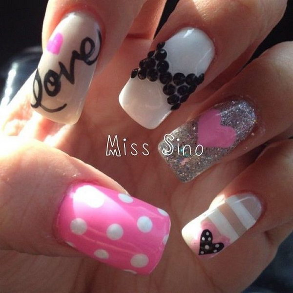 Cute Pink, Bow and Diamond 3D heart Nails