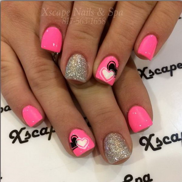 Valentine's Day Pink and Glitter Heart Nail Art Design