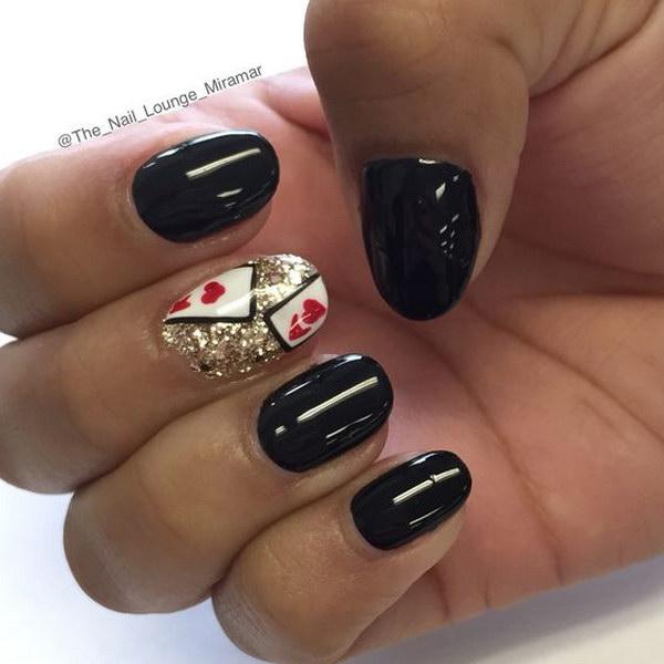 Valentine's Day Heartbeat Nail Art Design