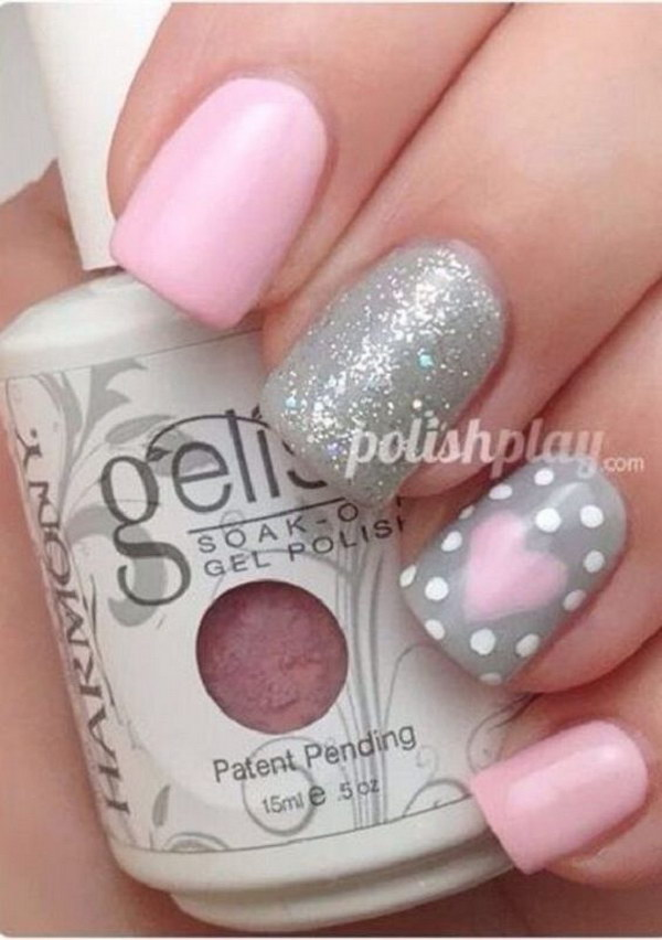 Adorable Valentine's Day Heart and Polka Dots Nails