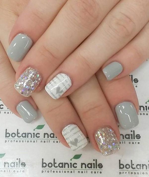 Gray Glitter and Heart Nail Art