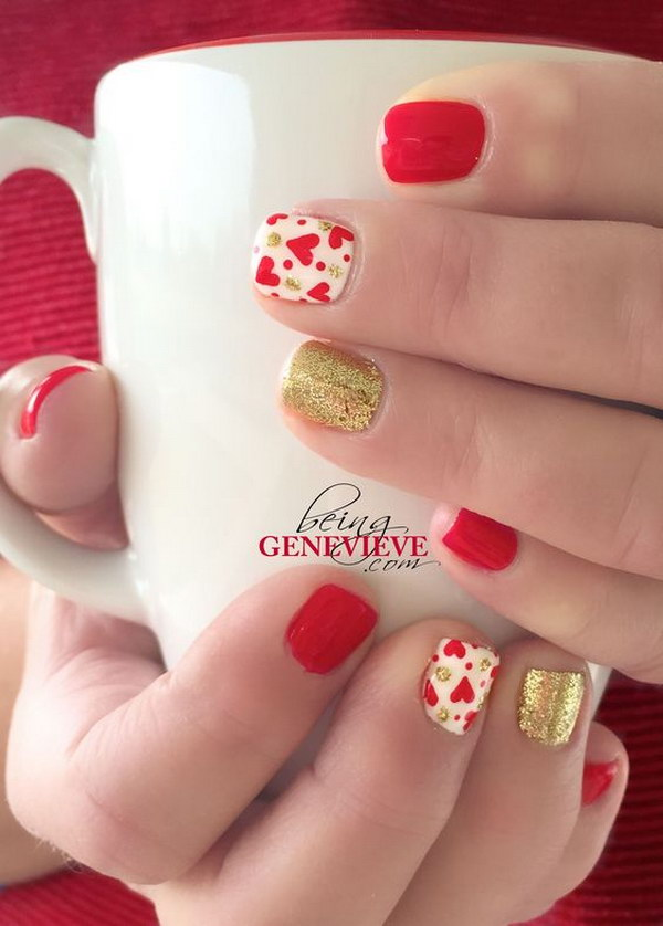 Red Hearts and Gold Glitter Heart Nail Art