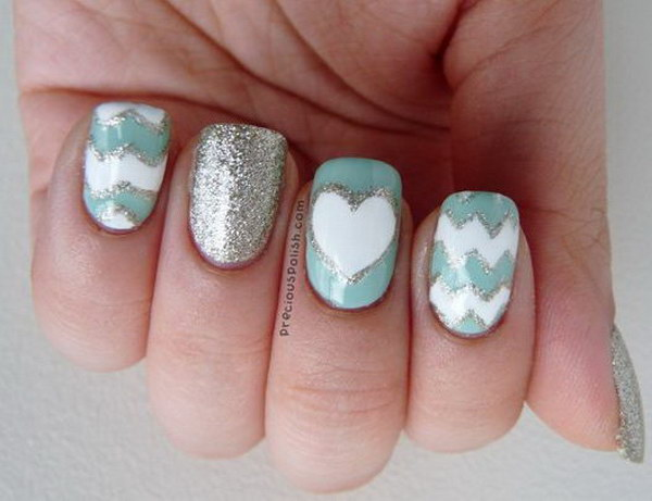 Glittery Chevron Nails with a Heart Accent