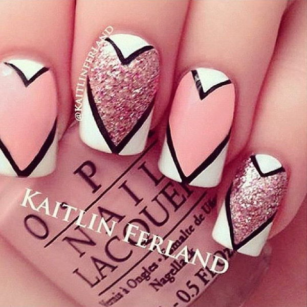 Awesome Valentine's Over Sized Heart Nail Design
