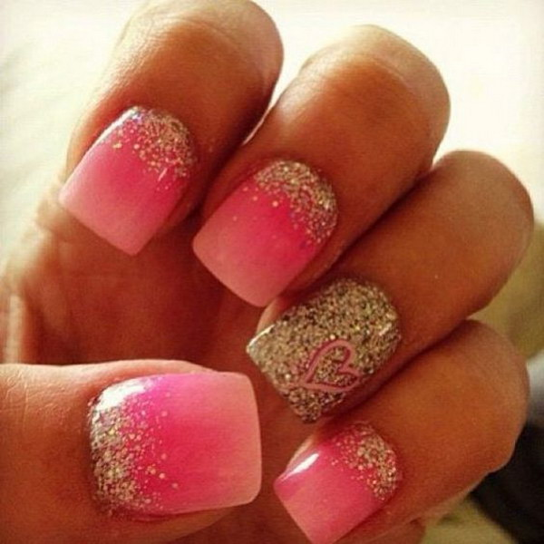 Pink Nails with Glitter and a Heart Accent Nail Art