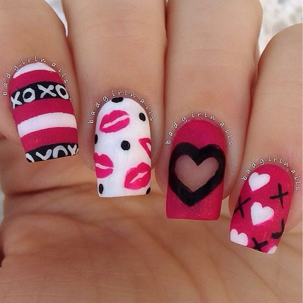 Fabulous Valentine's Day Matte XOX's and Kisses Nail Art