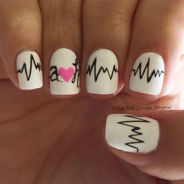 Simple and Cute Heart Beats Nail Art Design
