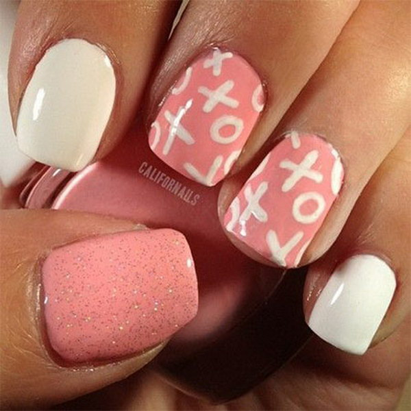 Pink and White Love Nail Art Design
