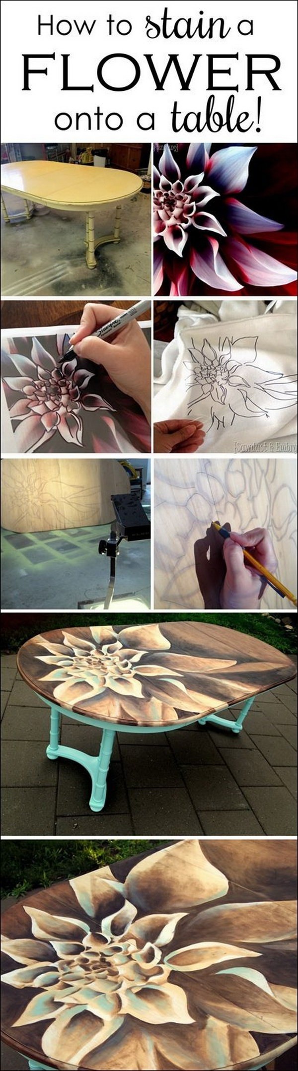 Dahlia Stained Artwork On Dining Table.