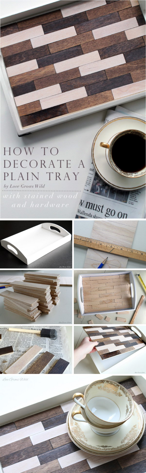 Wood Stained Decorative Tray Makeover.