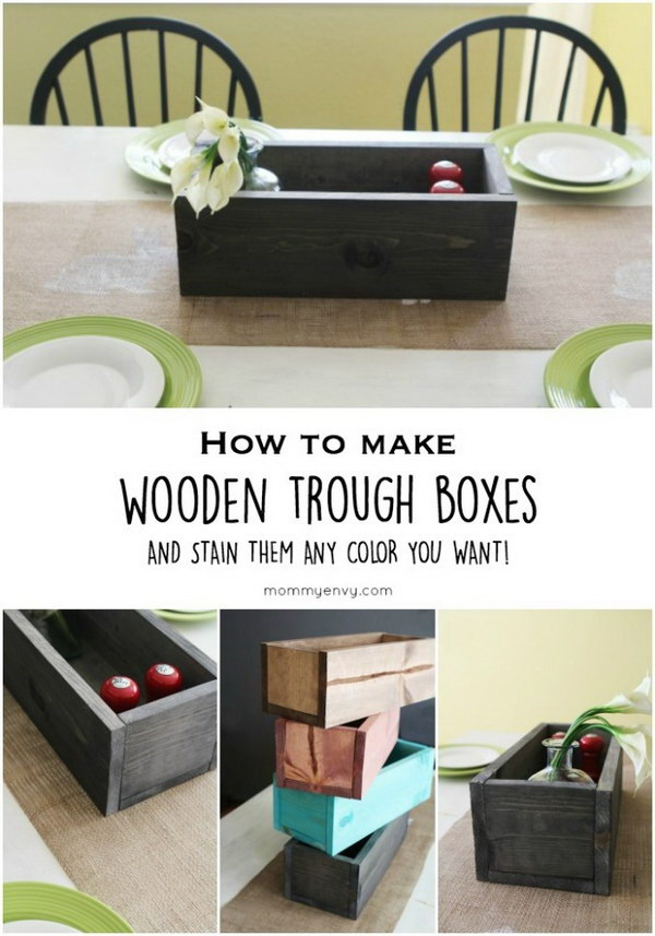 DIY Stained Wooden Trough Boxes.