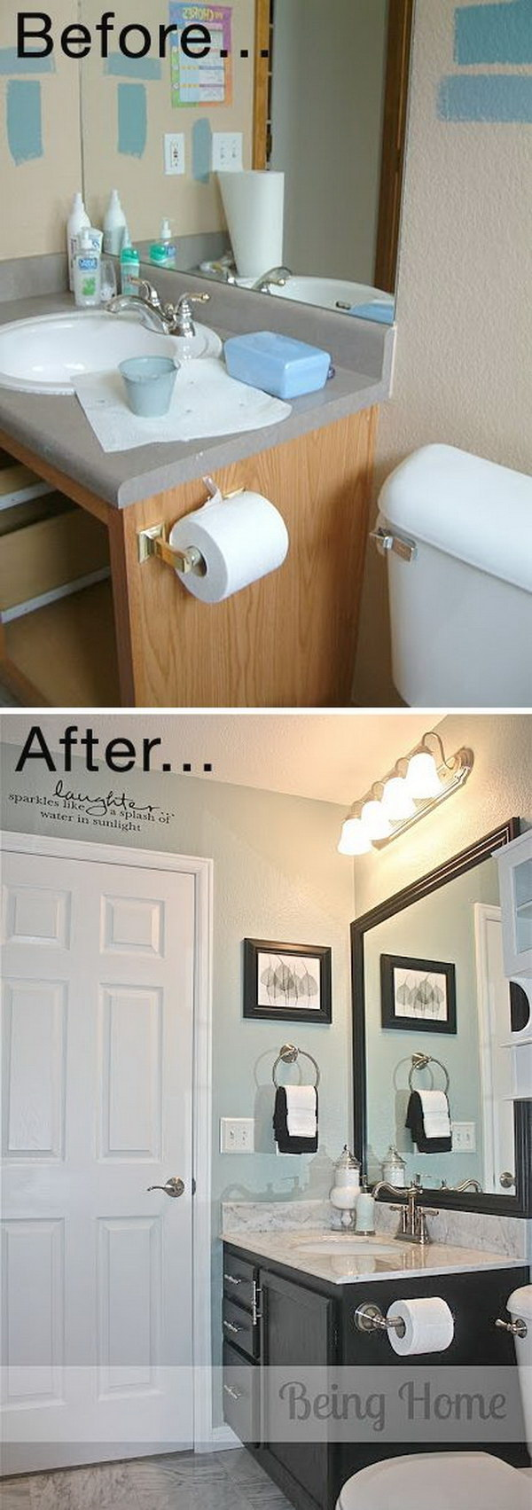 Tiny Bathroom Cheap Makeover.