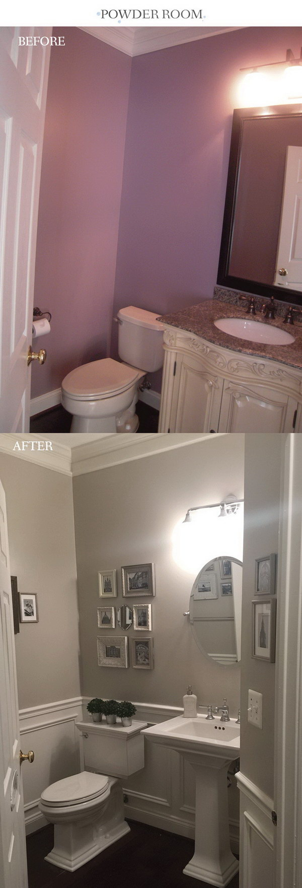 Before and After Wainscoting and Makeover.