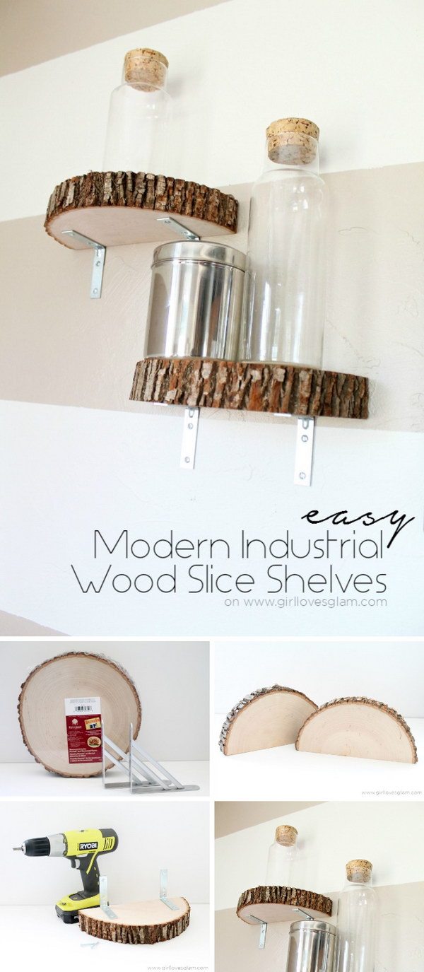 Modern Industrial Wood Slice Shelf.