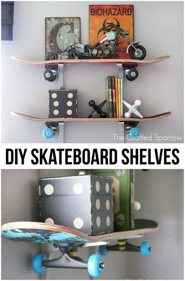 DIY Skateboard Shelves.