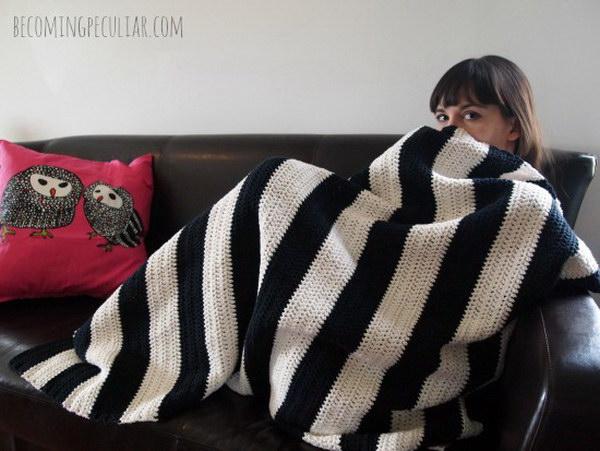 Crochet Striped Cotton Black and White Throw Blanket.