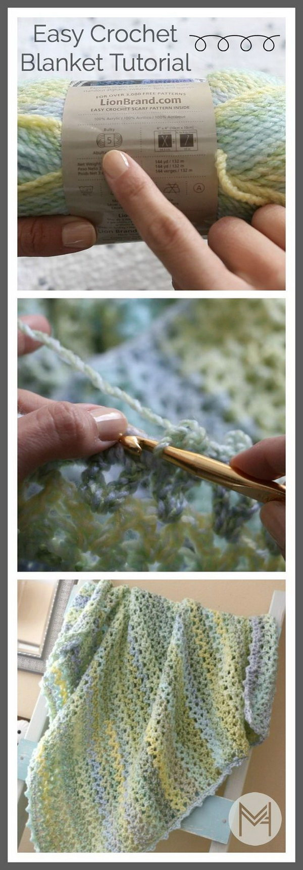 Easy Strips Baby Blanket Crochet Pattern.