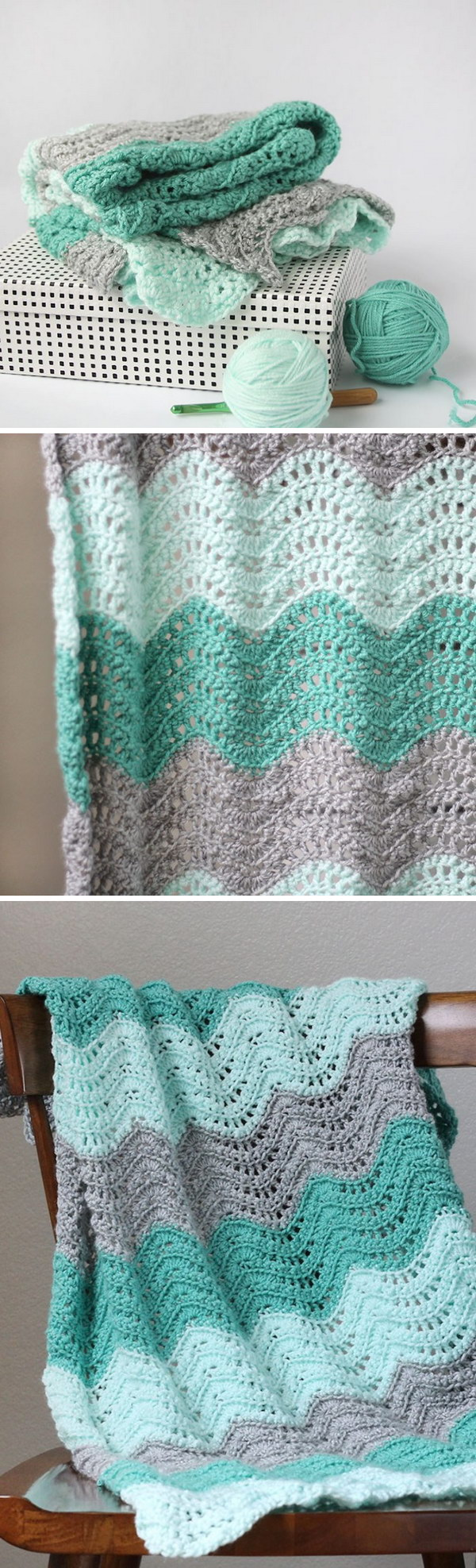 Feather And Fan Crocheted Baby Blanket.