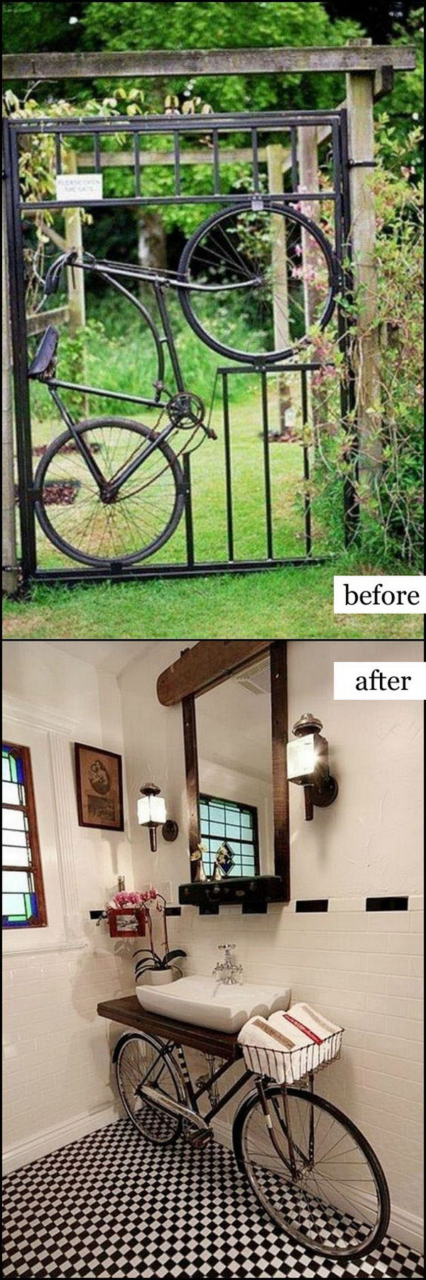 Repurpose Old Bicycle Parts Into Bathroom Vanity.