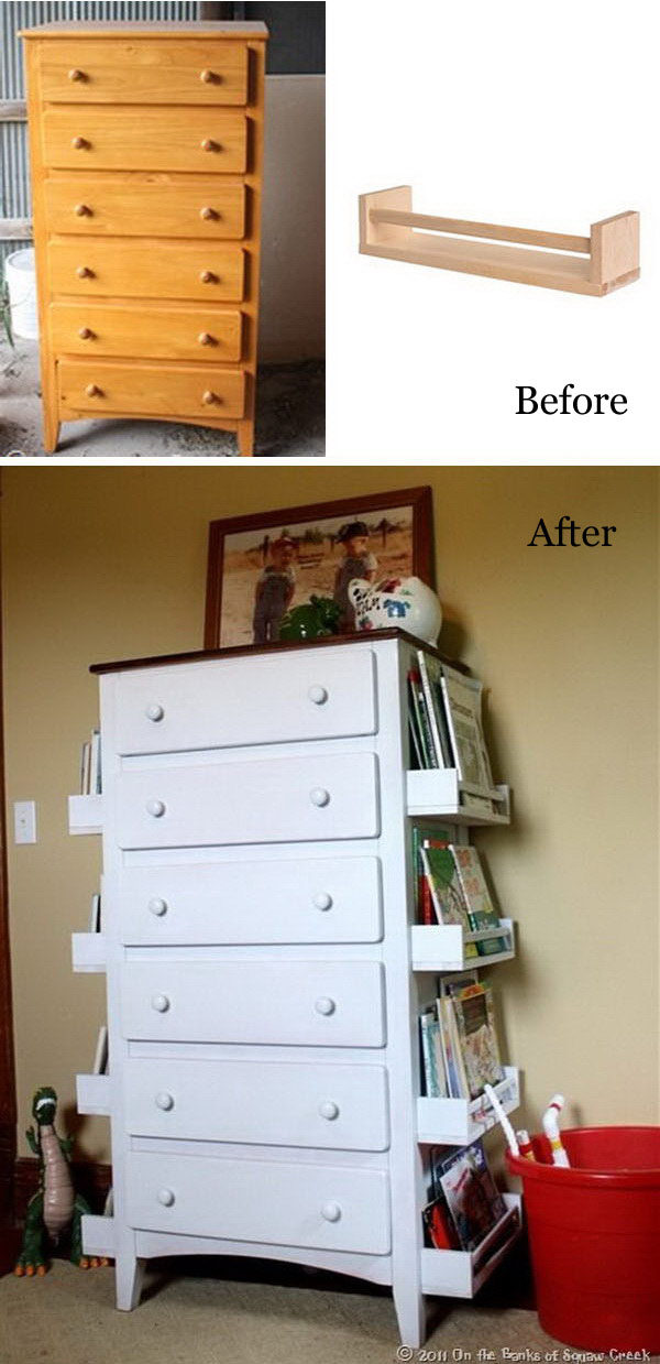 Turn Old Drawers Into Kids Bookshelves.