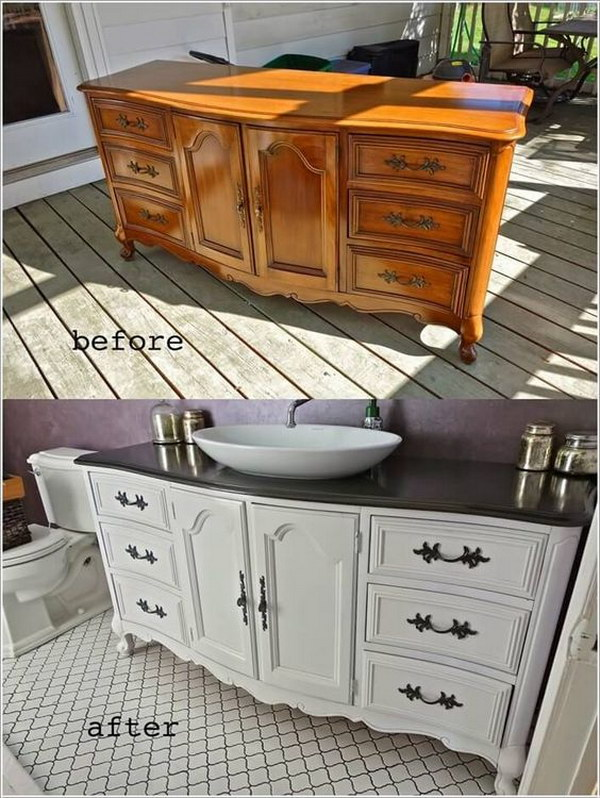This Dresser Got a New Life As a Bathroom Vanity in White And Black.