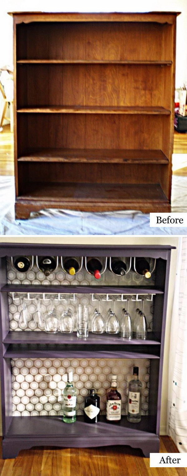 Turn a Bookcase Into a Bar.