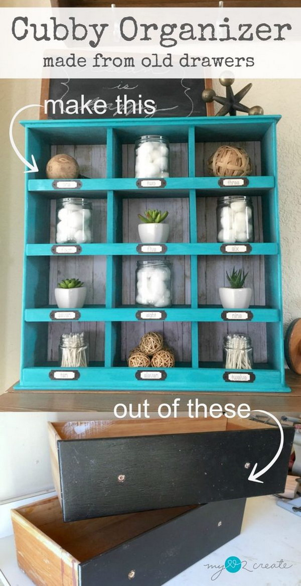 Old Drawer Cubby Organizer.