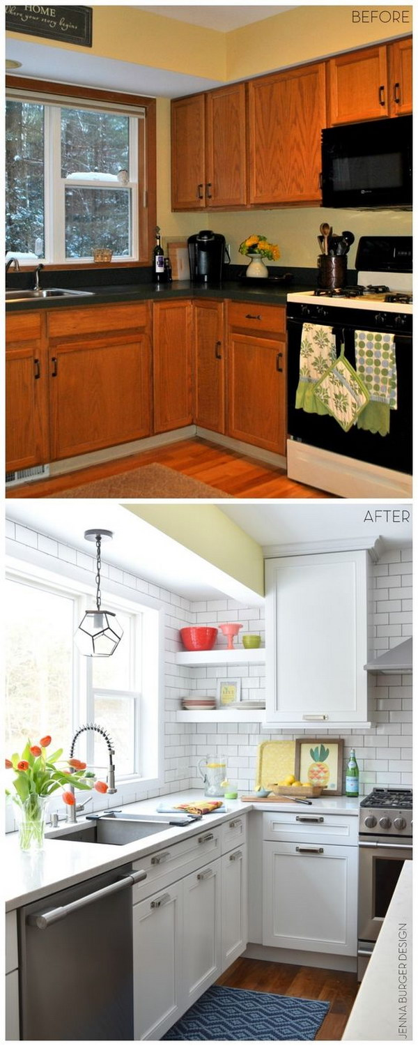 Before and After Kitchen Renovation with White & Gray Cabinets, Open Shelving, Subway Tile Backsplash, Quartz Countertops, And Layers Of Color.