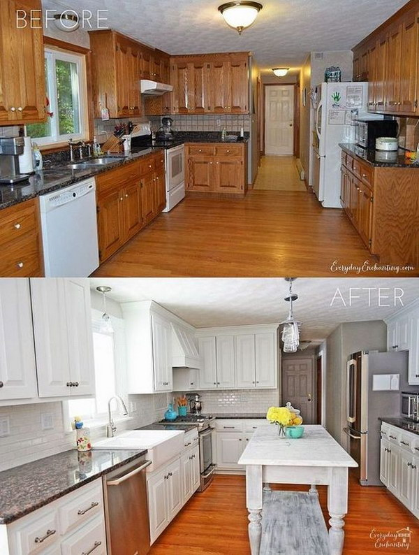 DIY White Painted Kitchen Cabinets Reveal.