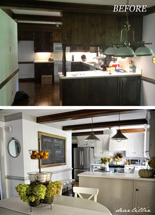 Kitchen Makeover with An Oversized Chalkboard and Bench In the Kitchen.