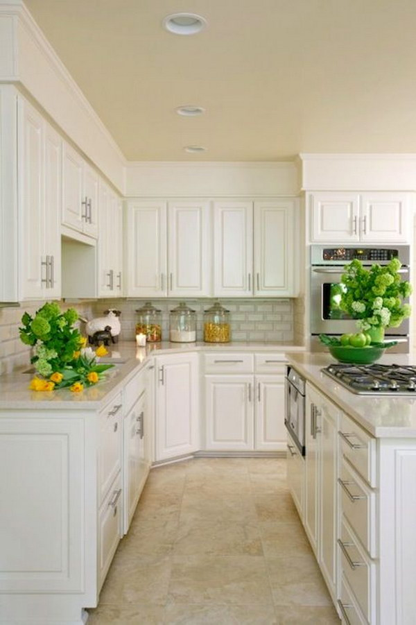 Amazing Kitchen with White Kitchen Cabinets, Granite Countertops.