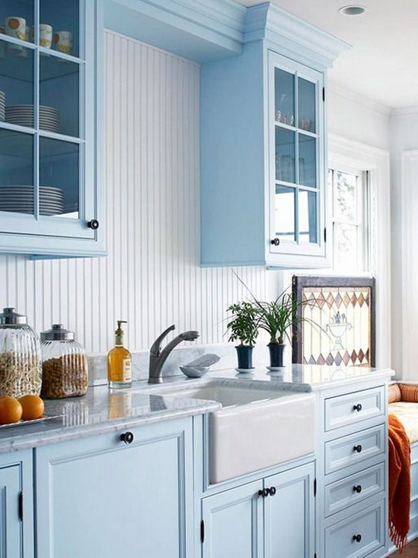 light blue kitchen white cabinets 80 cool kitchen cabinet paint color ideas noted list 22640