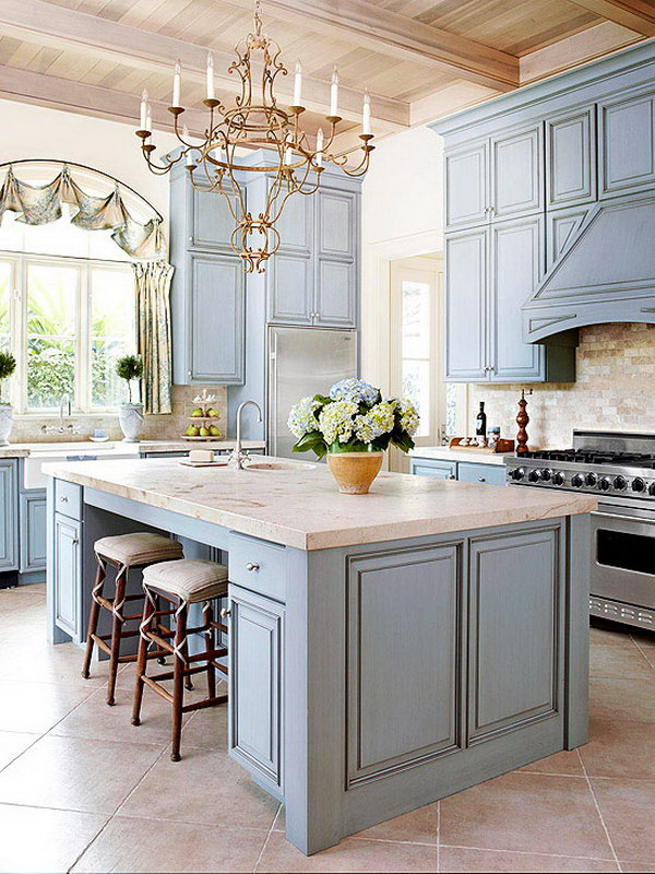 Bule Gray Inspired Kitchen Cabinet Paint Color.