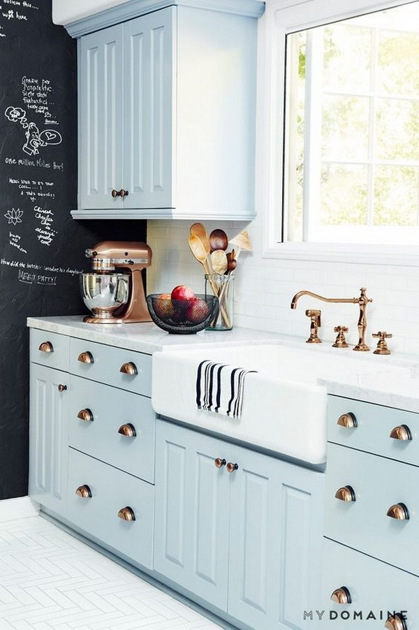 Baby Blue Kitchen Cabinets with Brass Hardware.
